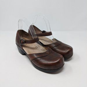 Dansko Mary Jane Leather Heeled Comfort Clog EU 40